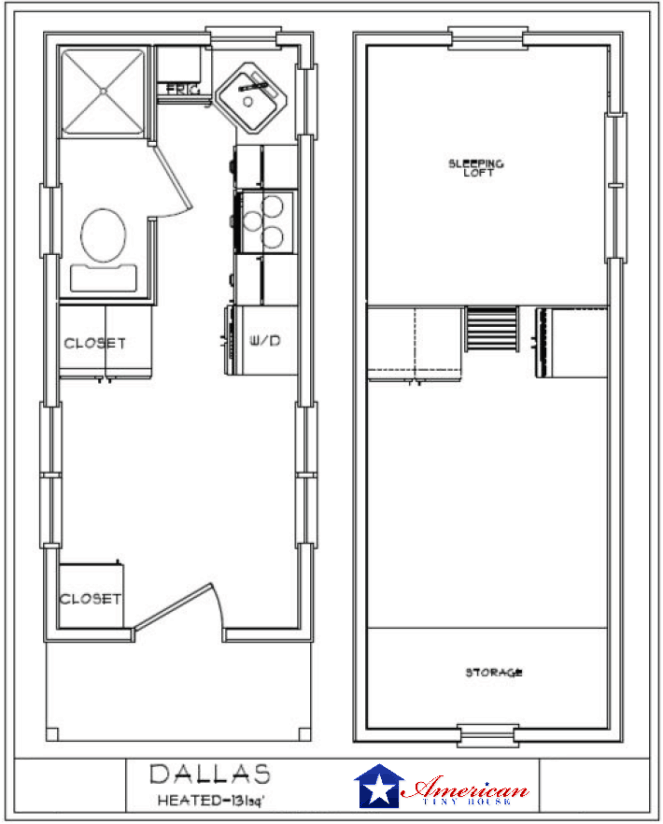 dallas floor plan american tiny house - Tiny House Plans On Wheels