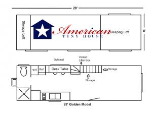 28' Everett Model floor plan -American Tiny House