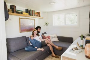 Natalie Barrett in their American Tiny Home