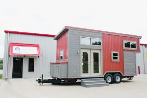 Houston Model External Red Gray American Tiny House